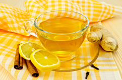 Tea ginger on yellow napkin Royalty Free Stock Photos