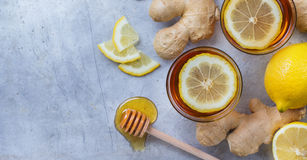 Ginger tea in a glass for flu cold winter days Royalty Free Stock Photography