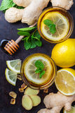 Ginger tea in a glass for flu cold winter days Royalty Free Stock Photos