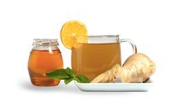 Ginger tea with honey. Lemon and mint stock photo
