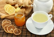 Ginger tea with honey and lemon. Stock Image