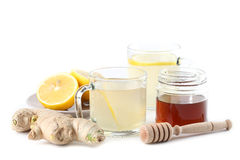 Ginger tea with honey and lemon Stock Photos