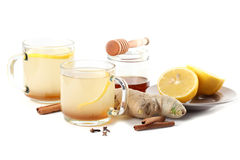 Ginger tea with honey, lemon and spices Royalty Free Stock Photo