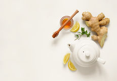 Ginger tea ingredients. Concept, healthy comforting and heating tea under simple recipe, view from above, space for a text royalty free stock image