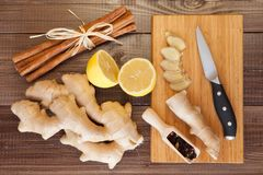 Ginger tea. Ingredients still life royalty free stock photography