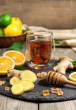 Ginger tea and ingredients Royalty Free Stock Photos