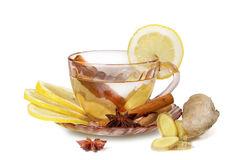 Ginger tea  isolated on white background Royalty Free Stock Photos