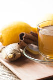 Ginger tea with lemon and cinnamon Royalty Free Stock Images