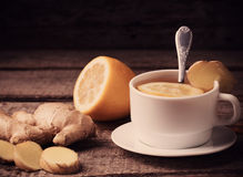 Ginger tea with lemon in a  cup Stock Photo