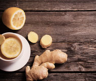 Ginger tea with lemon in a cup Royalty Free Stock Image