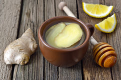 Ginger tea. With lemon and honey stock photo