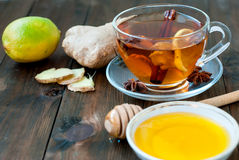 Ginger tea with lemon and honey Royalty Free Stock Images