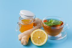 Ginger tea with lemon and honey stock photos