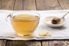 Ginger tea with lemon and honey stock images