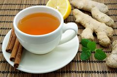 Ginger Tea. With Mint, Lemon and Cinnamon royalty free stock photography