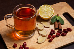 Ginger tea with mint and lemon Royalty Free Stock Photo