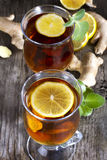 Ginger tea with mint and lemon Royalty Free Stock Photos
