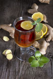 Ginger tea with mint and lemon Stock Photos