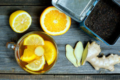 Ginger tea with orange and limon Stock Photo