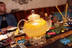 Ginger tea with oranges Stock Photo