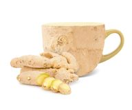 Ginger tea. Photo of cup with ginger root and slices - ginger tea concept Royalty Free Stock Images
