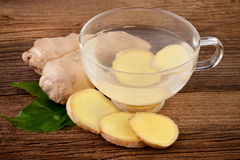 Ginger Tea. With slices fresh ginger royalty free stock photo