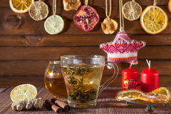 Ginger tea with spices, honey, cinnamon, lemon and dried fruit Royalty Free Stock Photos