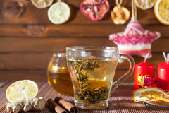 Ginger tea with spices, honey, cinnamon, lemon and dried fruit Royalty Free Stock Photography