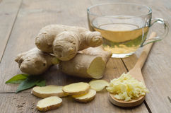 Ginger tea. On a wooden table royalty free stock images