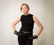 Ginger Teenage Girl In Riding Outfit Stock Photos