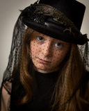 Ginger Teenage Girl In Victorian Riding Hat Royalty Free Stock Photos