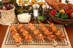 Ginger Teriyaki Shrimp Kebabs Royalty Free Stock Images