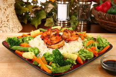 Ginger Teriyaki Shrimp with Rice and Veggies Royalty Free Stock Photo