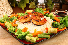 Ginger Teriyaki Shrimp with Rice and Veggies Stock Image