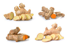 Ginger and turmeric on white background Royalty Free Stock Photography