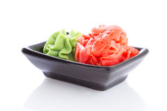 Ginger and wasabi isolated Stock Image