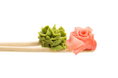 Ginger and wasabi isolated on white background Stock Photography