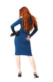 Ginger woman in the blue slinky dress Royalty Free Stock Photos