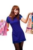 Ginger woman shopping Stock Photos