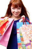 Ginger woman shopping Stock Images