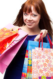 Ginger woman shopping Royalty Free Stock Images