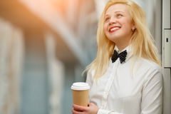 Ginger woman in white shirt Stock Images