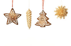 Ginger and wood Christmas decorations Royalty Free Stock Photos