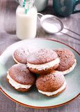 Ginger woopie pies with cream filling Royalty Free Stock Image