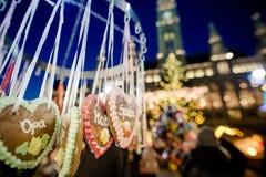 Gingerbrad在维也纳圣诞节市场在奥地利, 12月2日上 图库摄影