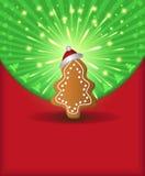 Gingerbre verde rojo del árbol de la enhorabuena de la Navidad Fotografía de archivo libre de regalías