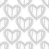 gingerbread Черно-белая иллюстрация для книжка-раскраски или страницы Рождество, предпосылка праздника Стоковые Изображения