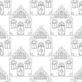 gingerbread Черно-белая иллюстрация для книжка-раскраски или страницы Рождество, предпосылка праздника Стоковые Изображения RF