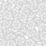gingerbread Черно-белая иллюстрация для книжка-раскраски или страницы Рождество, предпосылка праздника Стоковые Фото