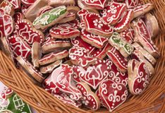 Gingerbread. Red and white colored gingerbread in different shapes Royalty Free Stock Photo